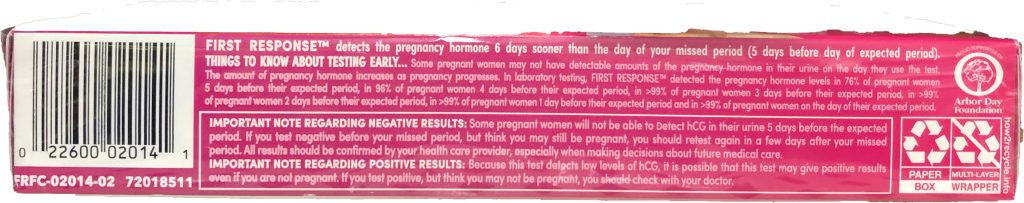 Read the entire package before you buy the First Response Early Result Pregnancy Test new package.