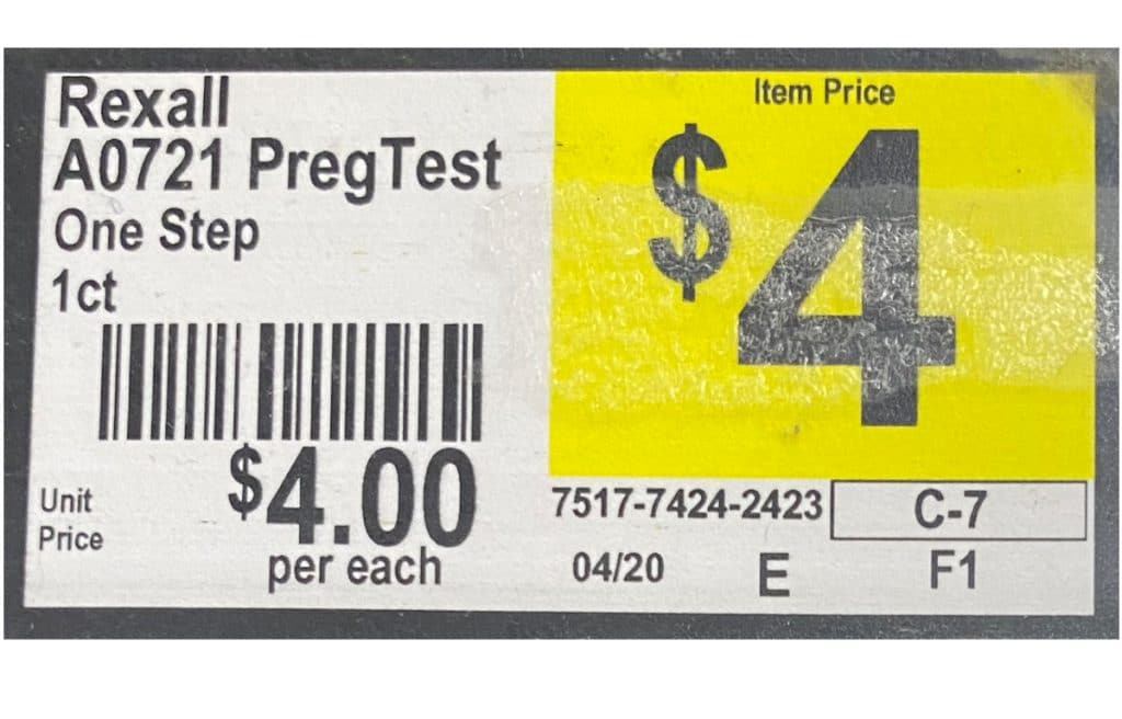 Rexall One Step Pregnancy Test 1-pack costs $4 at Dollar General. Prices and avaialbility may change.