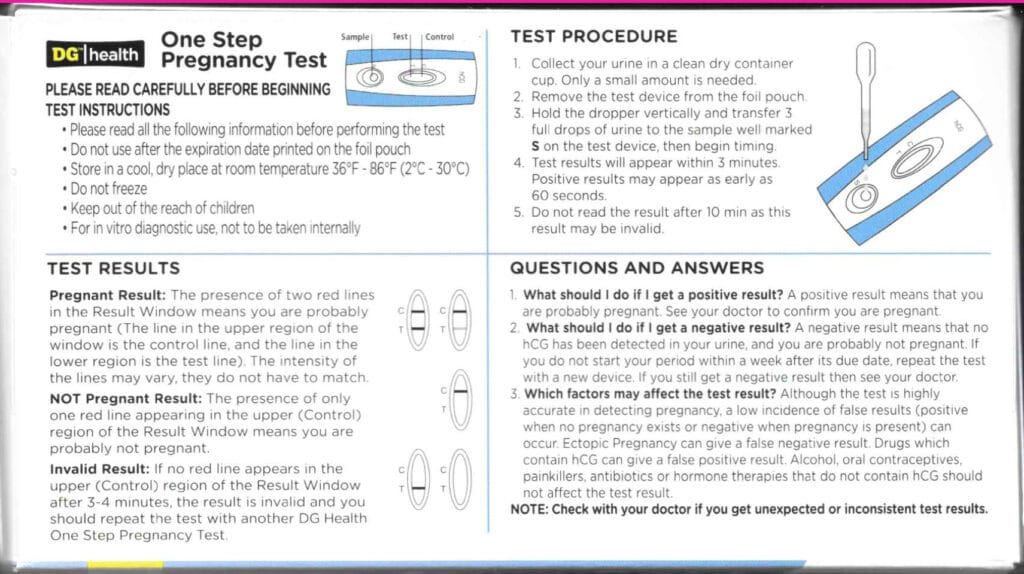 Dollar General Pregnancy Test instructions. Look on the back of the product's package.