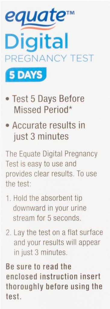Equate Digital Pregnancy Test instructions.