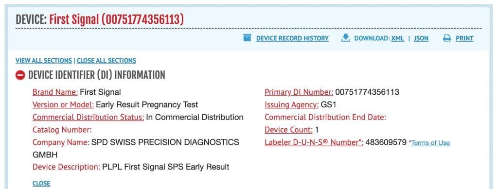 First signal's record at Access GUDID.