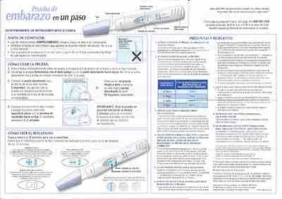 Equate One Step Pregnancy Test Directions in Spanish