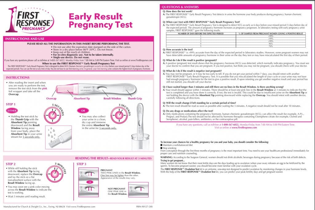 Click to enlarge FRER Pregnancy Test instructions