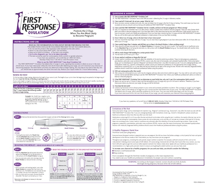 First Response Ovulation Test Instructions.