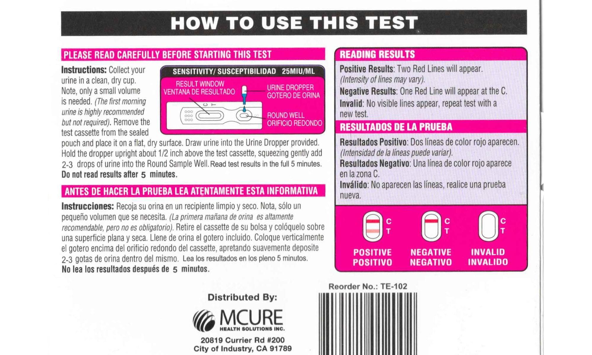 para aid pregnancy test