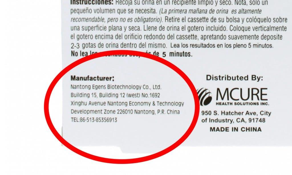 Paraid Pregnancy Test manufacturer is Nantong Edens.