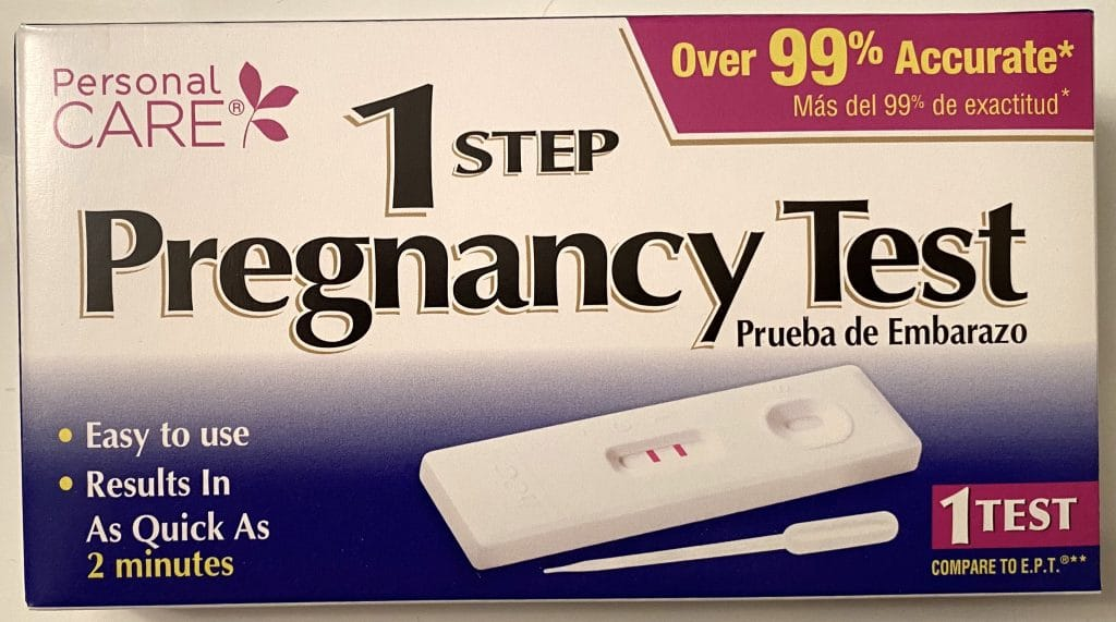We found the Personal Care 1 Step Pregnancy test in the $1 discount section of a nearby Dollar General Store.