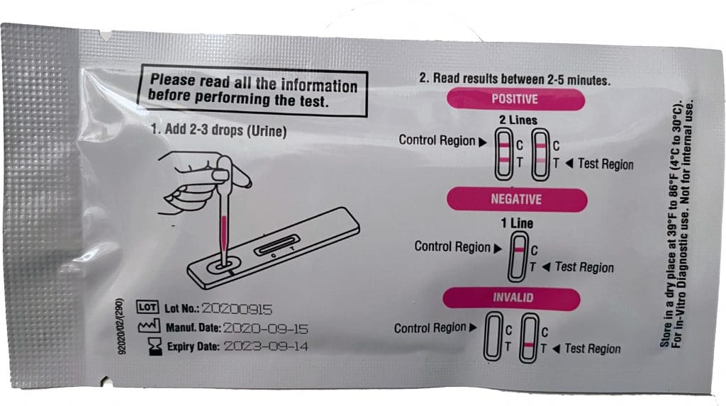 You'll find pregnancy test directions printed on the foil packet that contains your pregnancy test cassette and dropper.