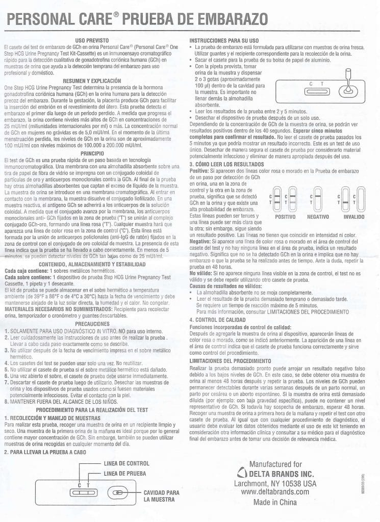 Spanish instructions from the insert included inside the Personal Care 1 Step Pregnancy Test box.