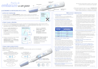 Rexall Pregnancy Test directions in Spanish.