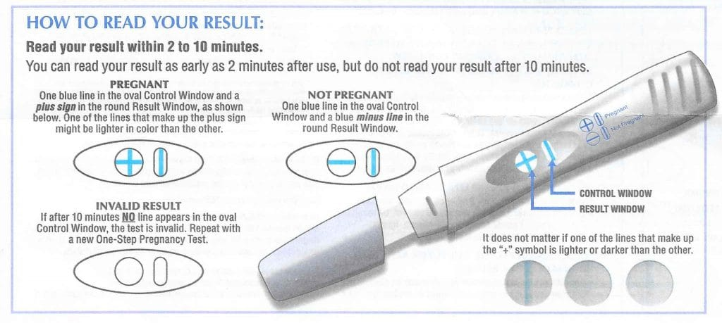 How to read your Rexall One Step Pregnancy Test result.
