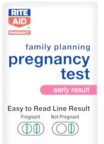 Rite Aid's Early Result Pregnancy Test displays horizontal lines for a positive test result.