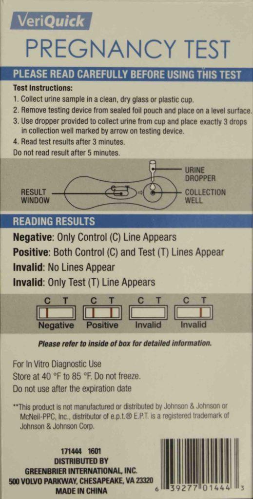 VeriQuick Pregnancy Test Instructions