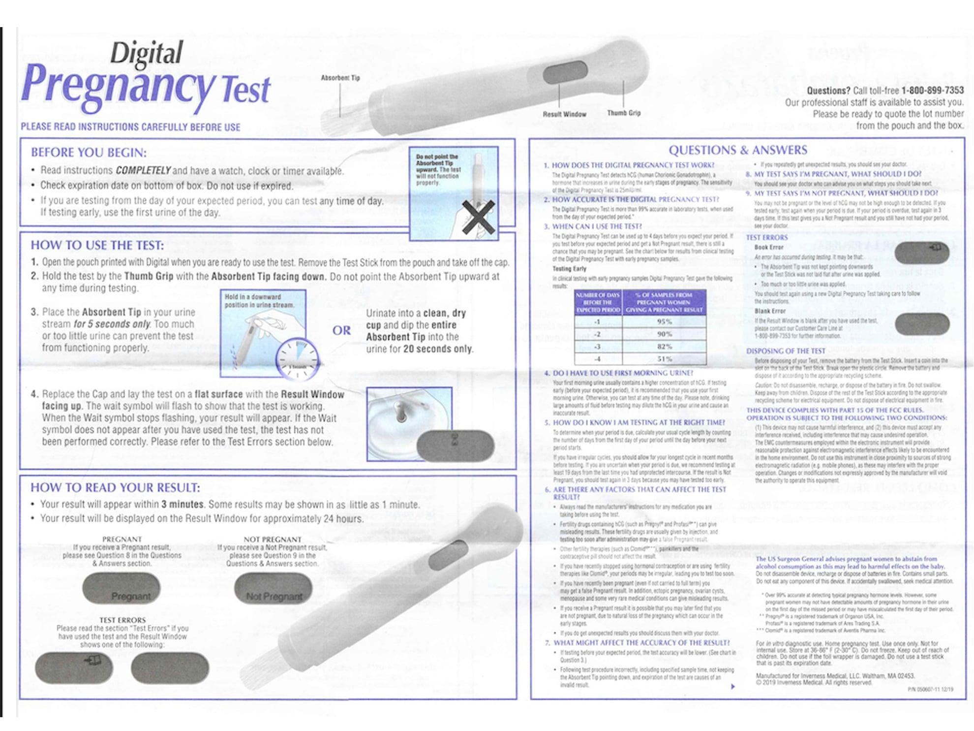 Walgreens Digital Pregnancy Test instructions