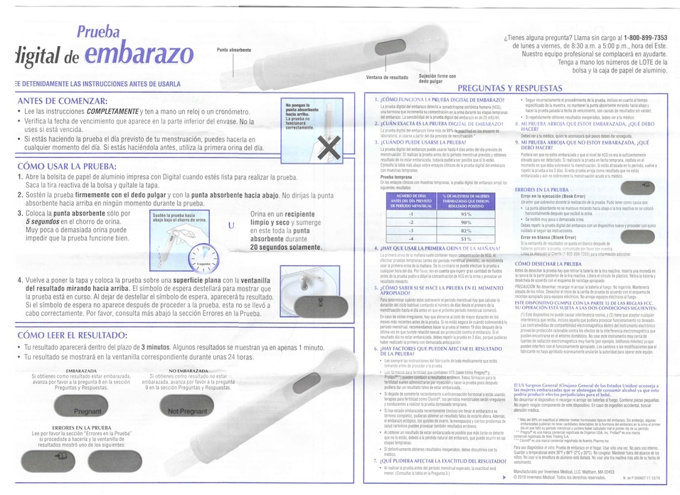 Walgreens Digital Pregnancy Test directions in Spanish. (Image opens in a new window.)