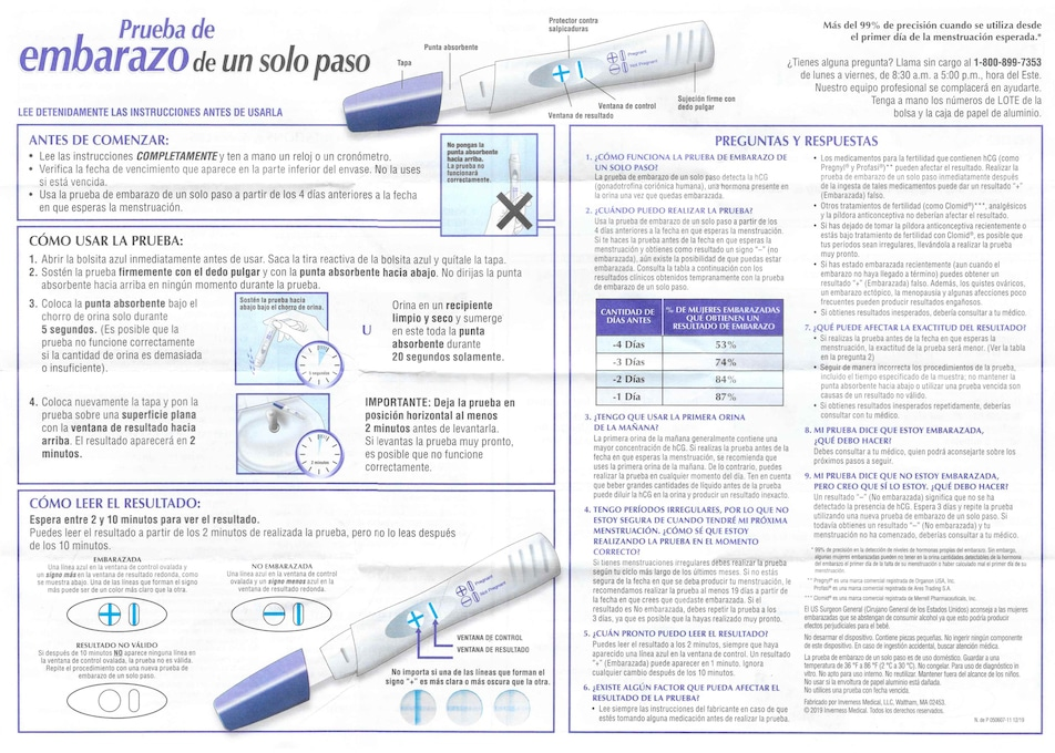 Spanish instructions for Walgreens One Step Pregnancy Test